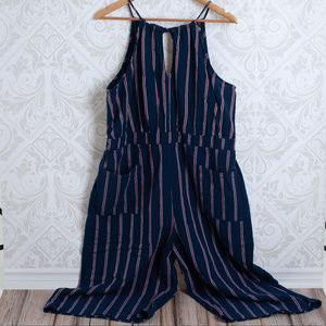 Universal Thread Pants - Navy Sriped Culottes Jumpsuit Romper